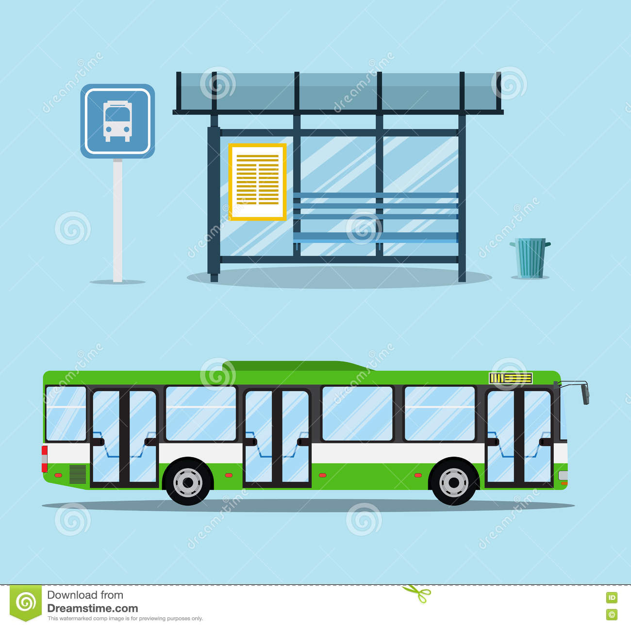 bus stop with seats and payment kiosk  front and side view