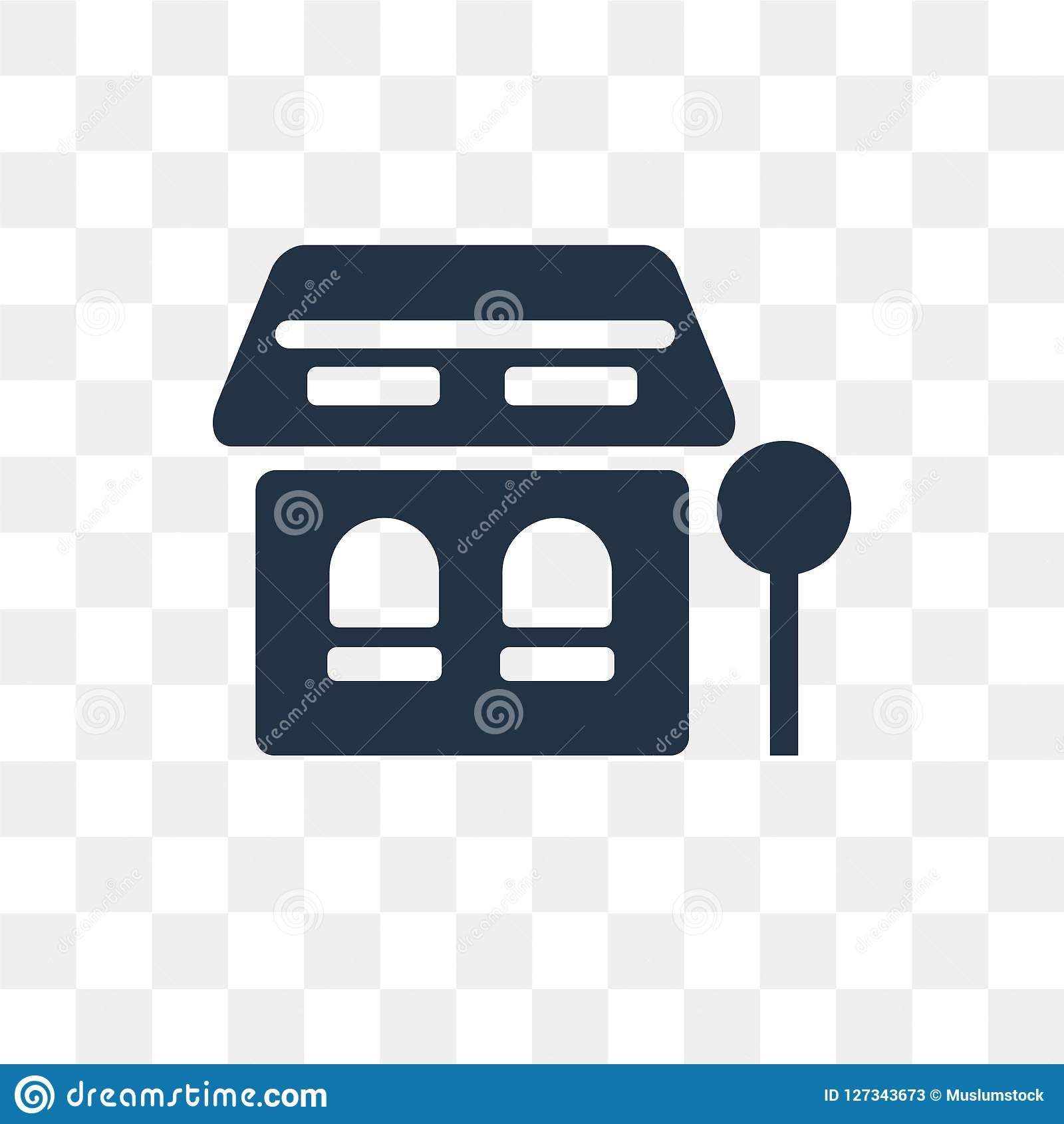 Bus Stop Vector Icon Isolated On Transparent Background, Bus