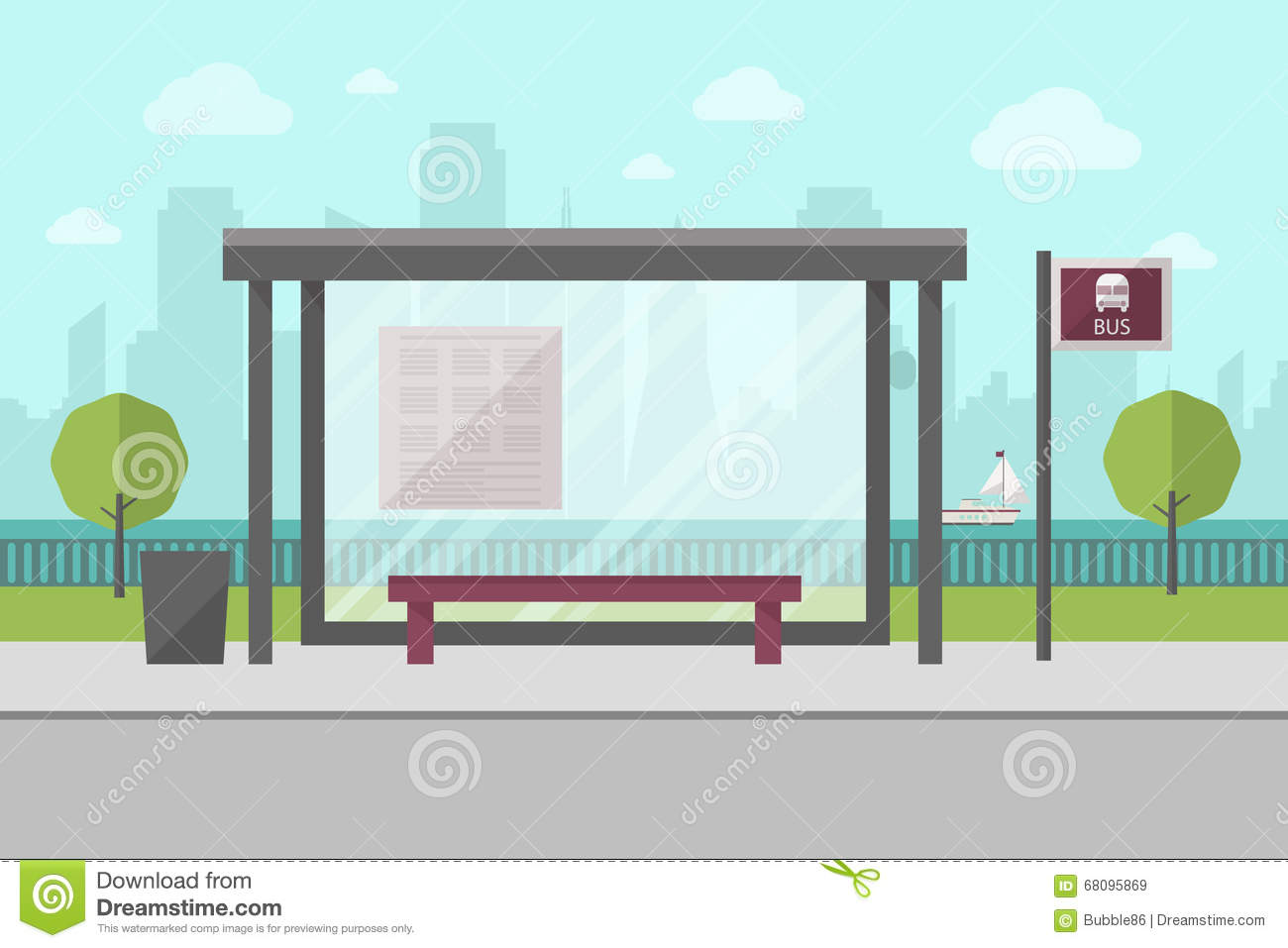 photo templates from stopdesign image info - vector illustration of bus stop with city skyline cartoon