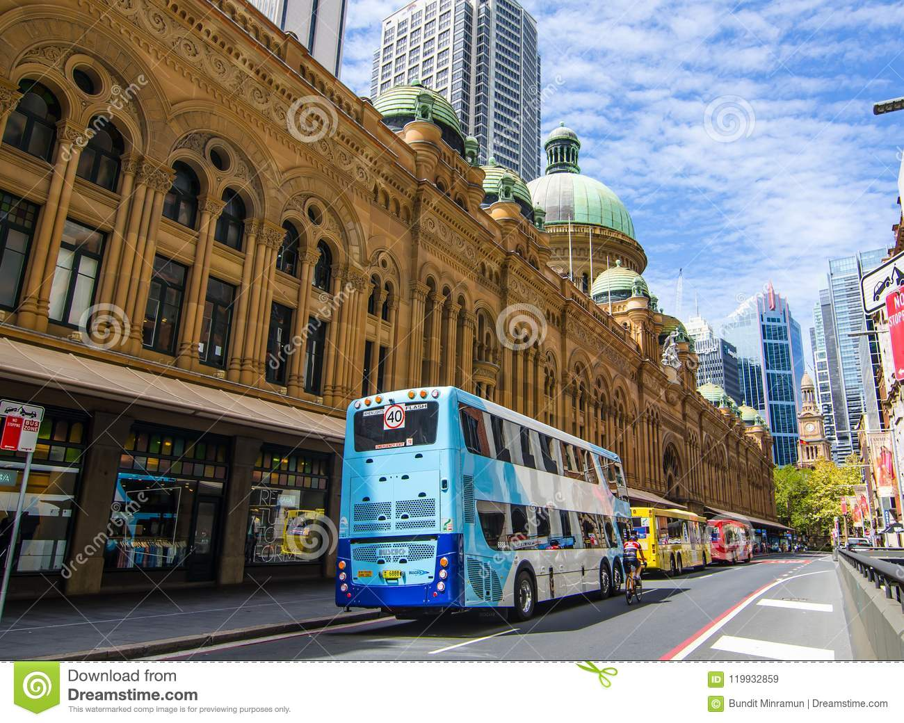 Bus Stop On York St At Queen Victoria Building Editorial Stock
