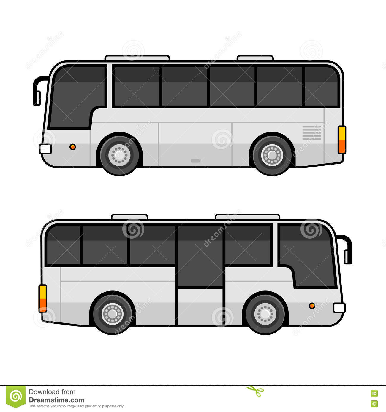 Bus Template Set On White Background Vector Stock Vector