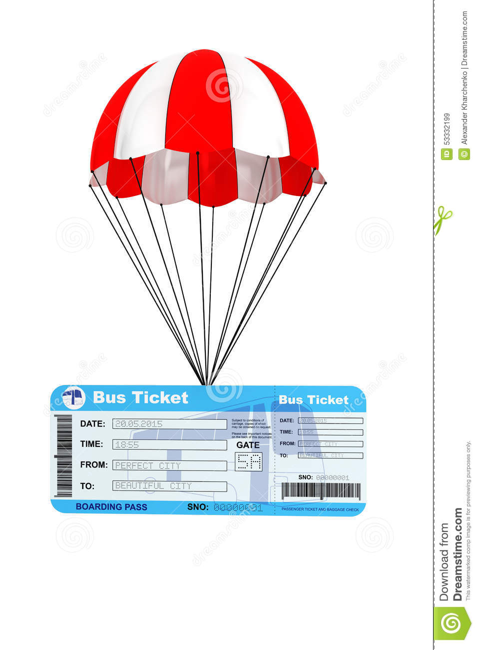 Bus Ticket with Parachute stock illustration  Illustration of cargo