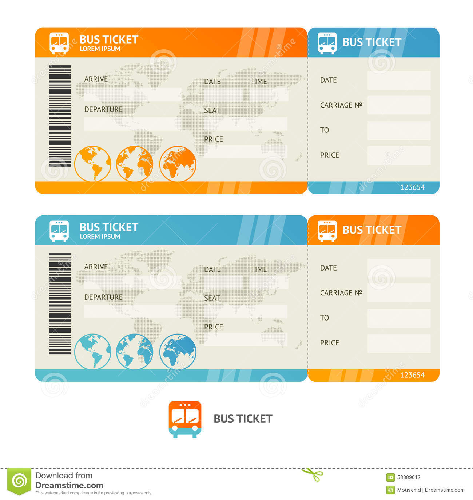 Bus Ticket Vector Stock Image 58389012