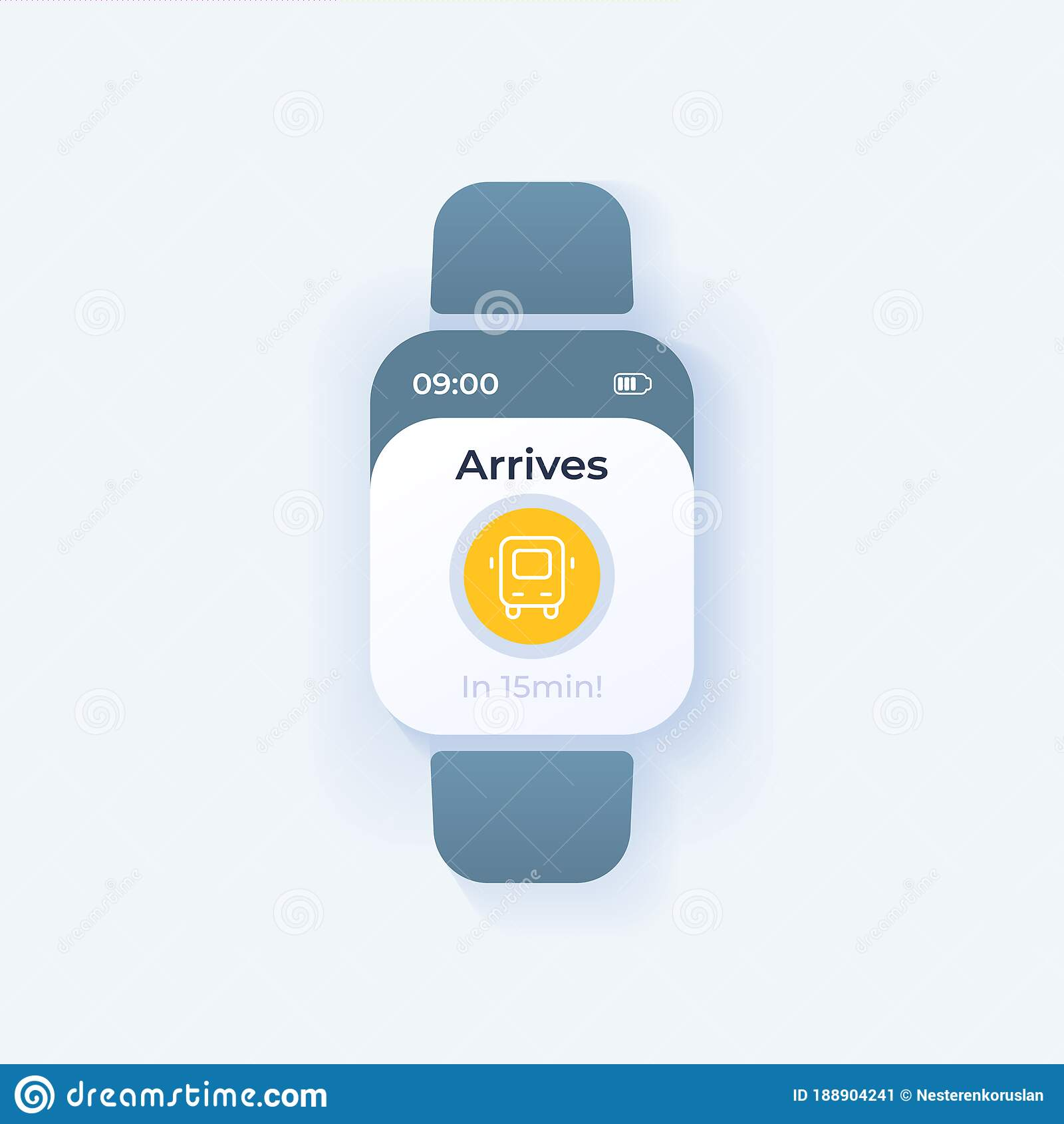Bus Tracking Smartwatch Interface Vector Template Stock Vector Illustration Of Cartoon Smart 188904241