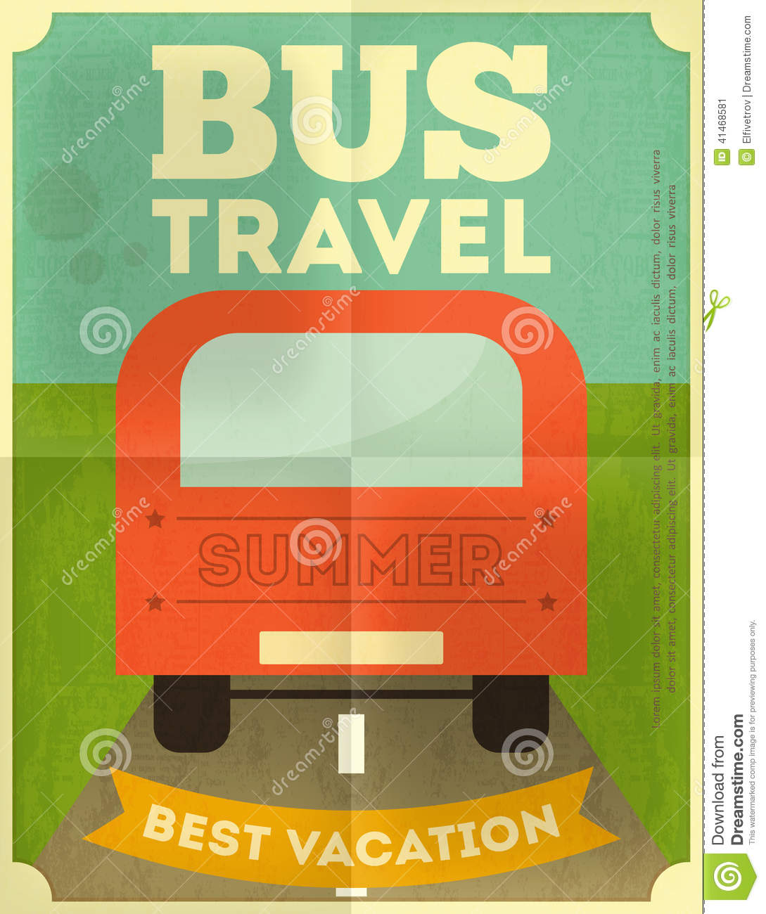 Bus Travel Poster Stock Vector