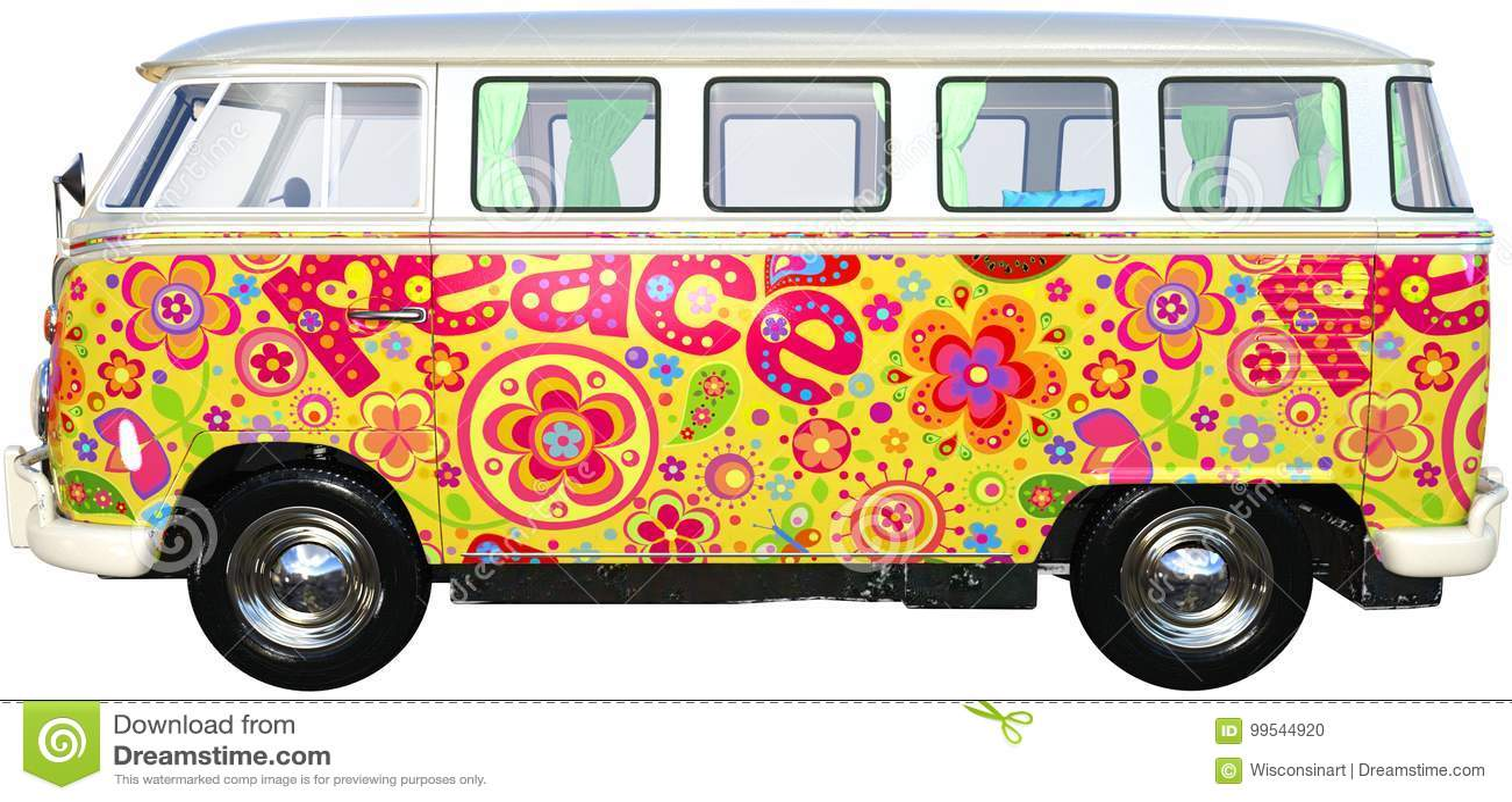 Bus Van Isolated, Volkswagen di hippy di VW