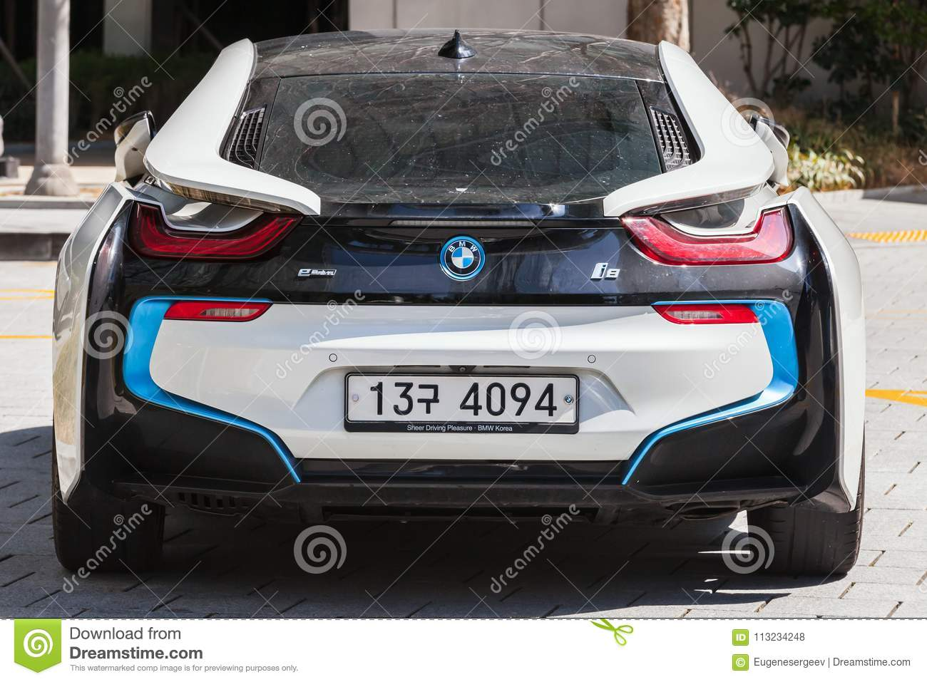 Bmw I8 Plug In Hybrid Sports Car Rear View Editorial Stock Photo