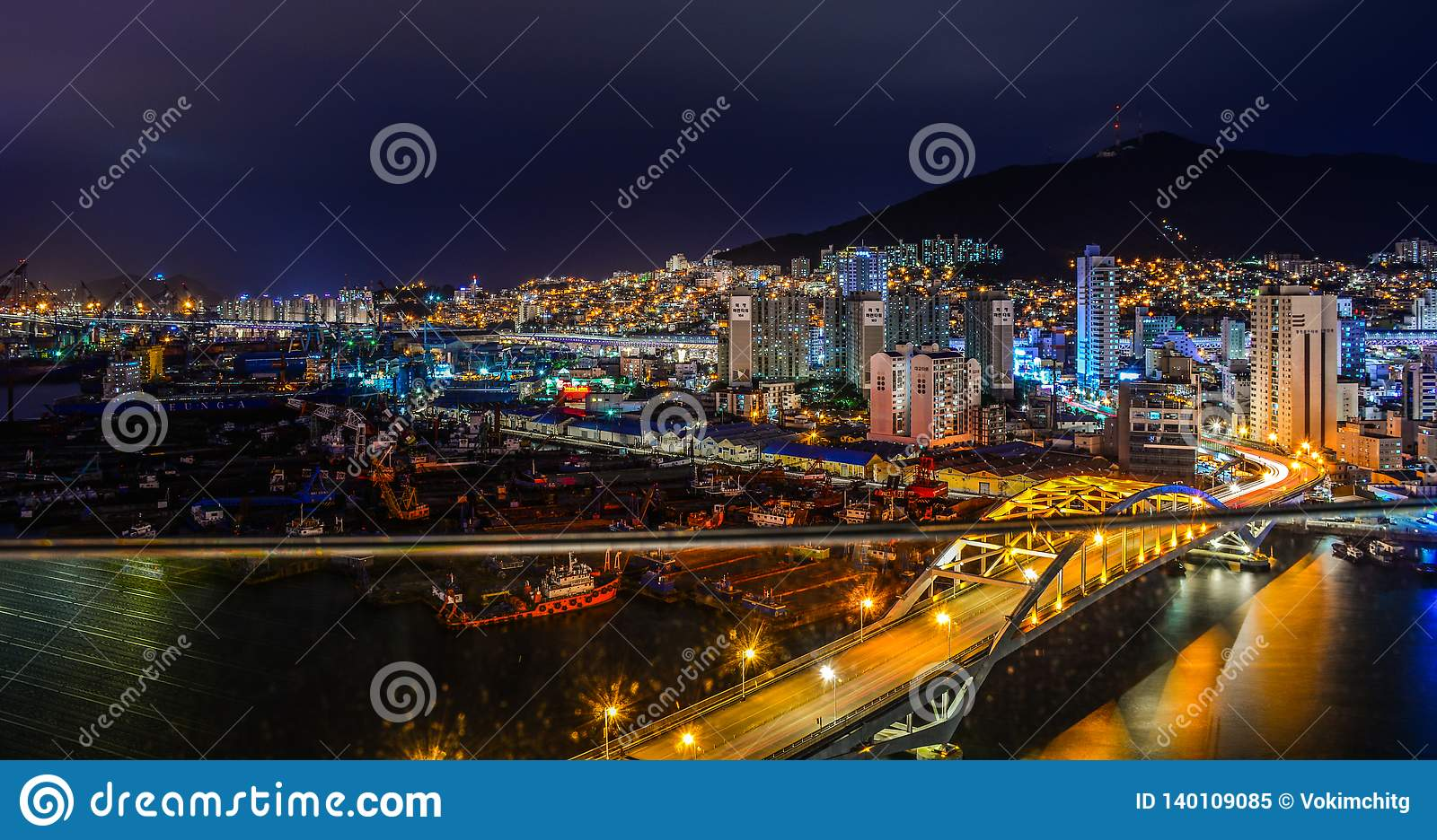 Night Scape Of Busan, South Korea Editorial Image - Image of