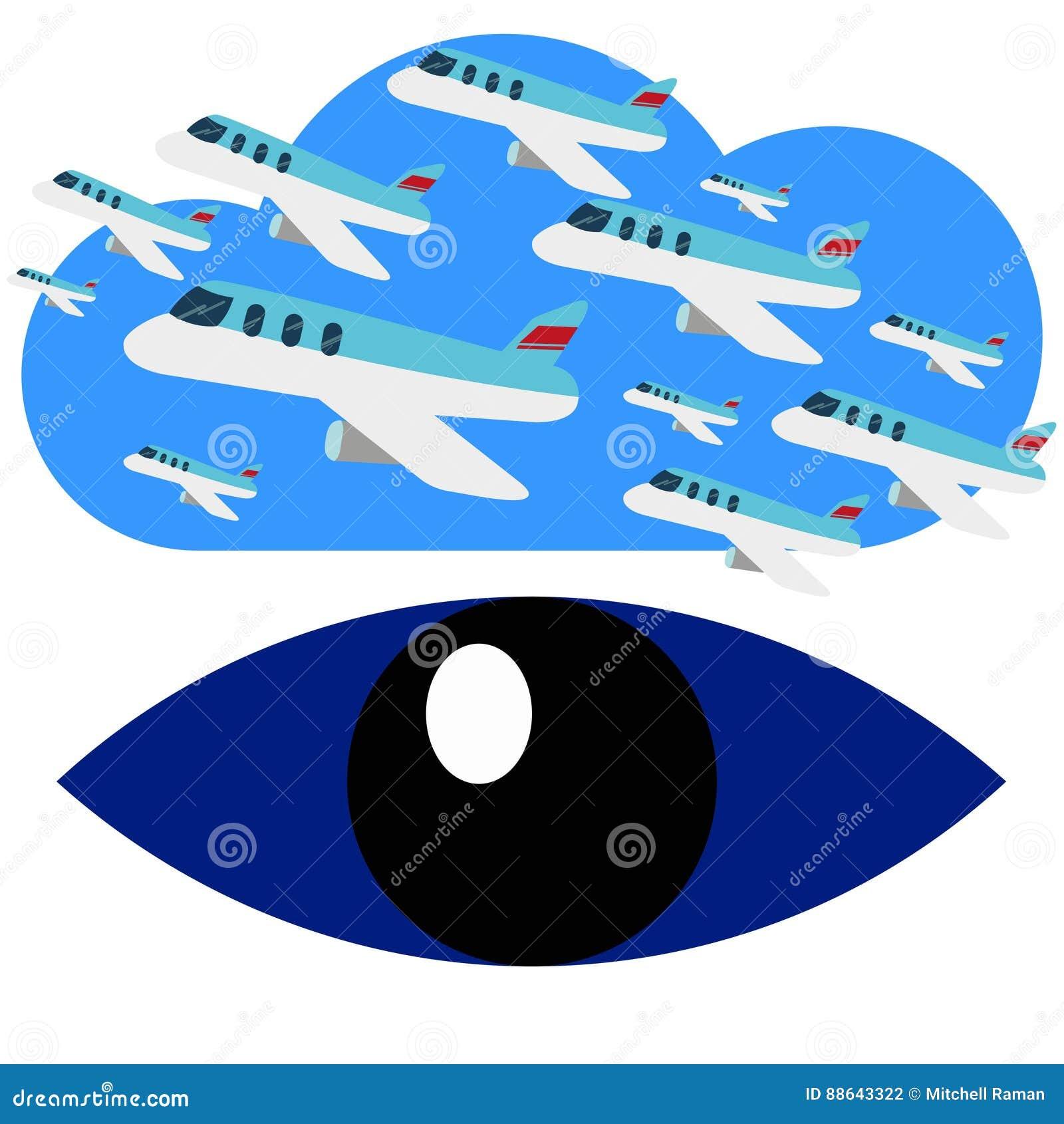 A busca para o avião migra os olhos azuis Logo Vetora