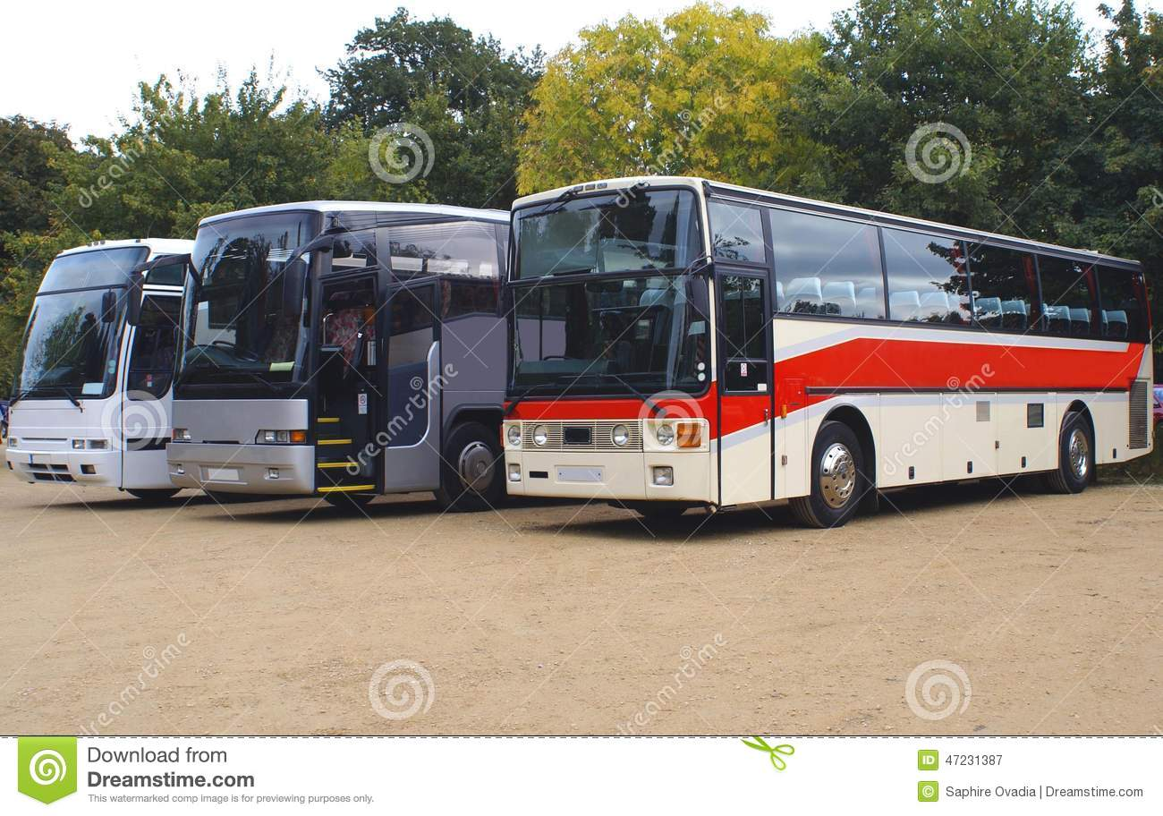 Buses. coaches. buses or coaches parked in a car park