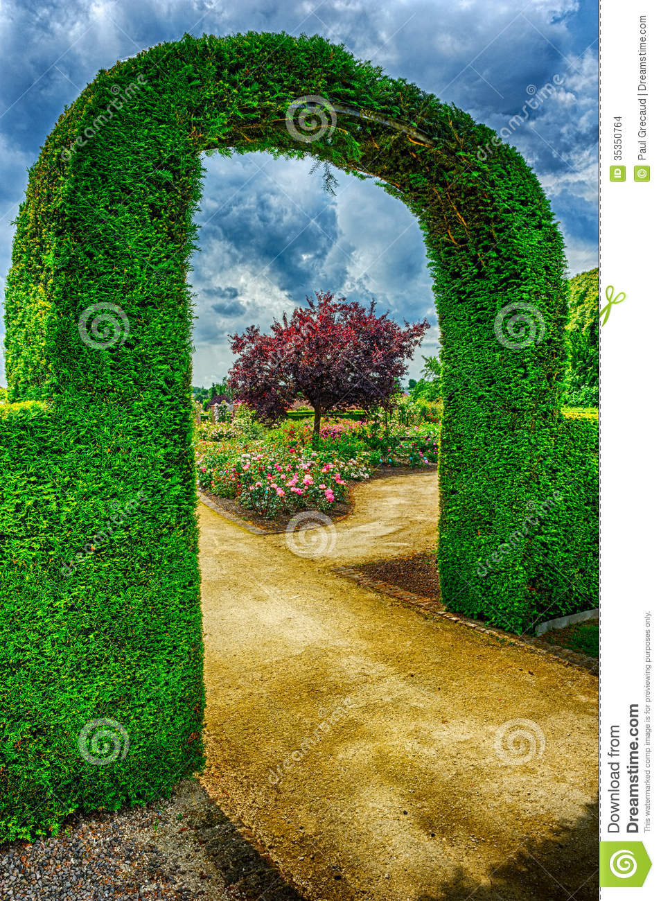 Bush Arch In Beautiful Summer Garden Stock Photo Image