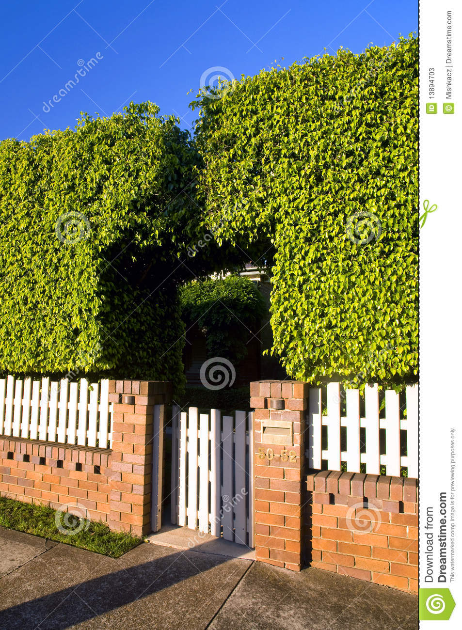Bush Wooden And Bricks Fence Stock Photos Image 13894703