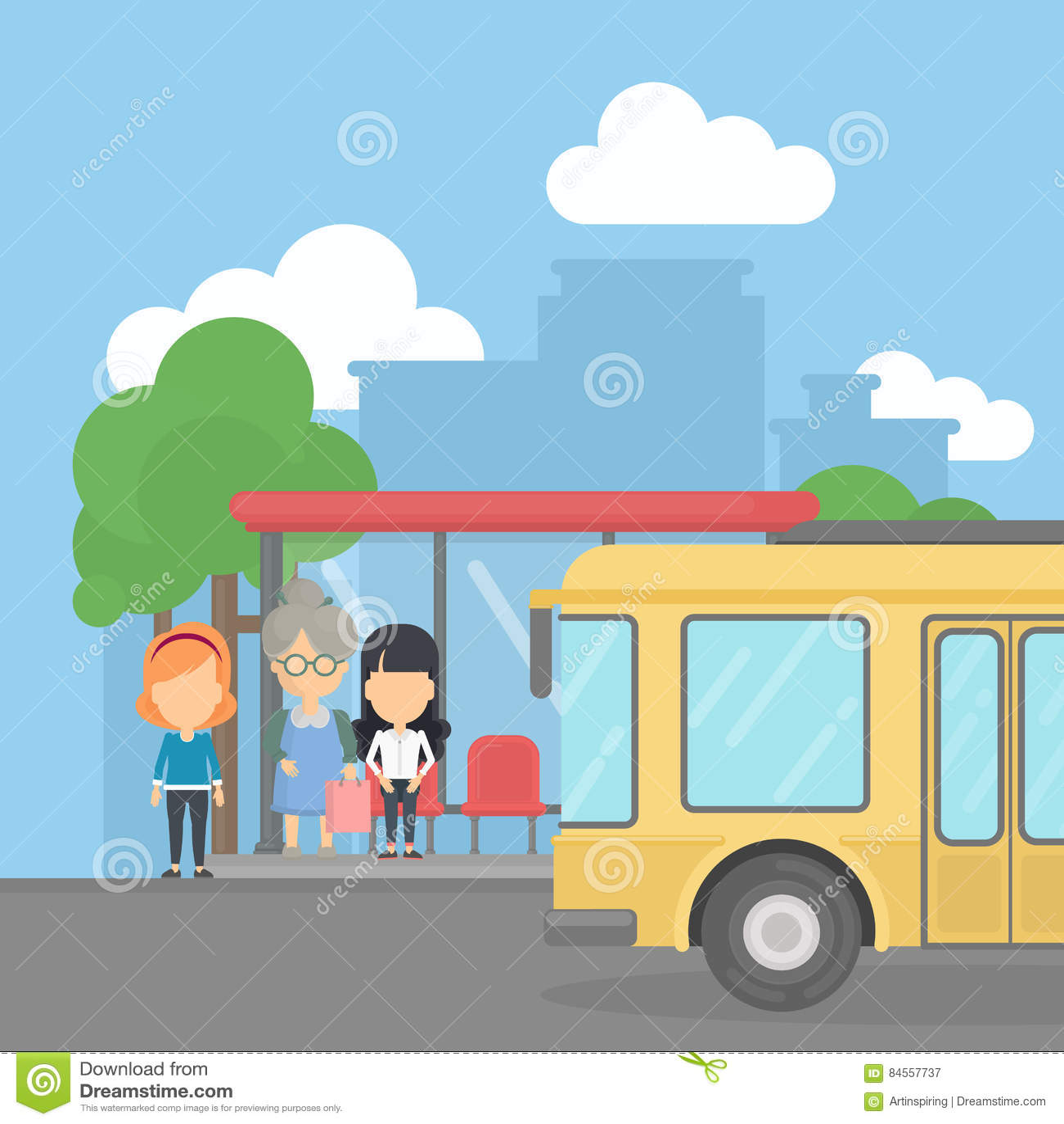 Bushalte met passagiers
