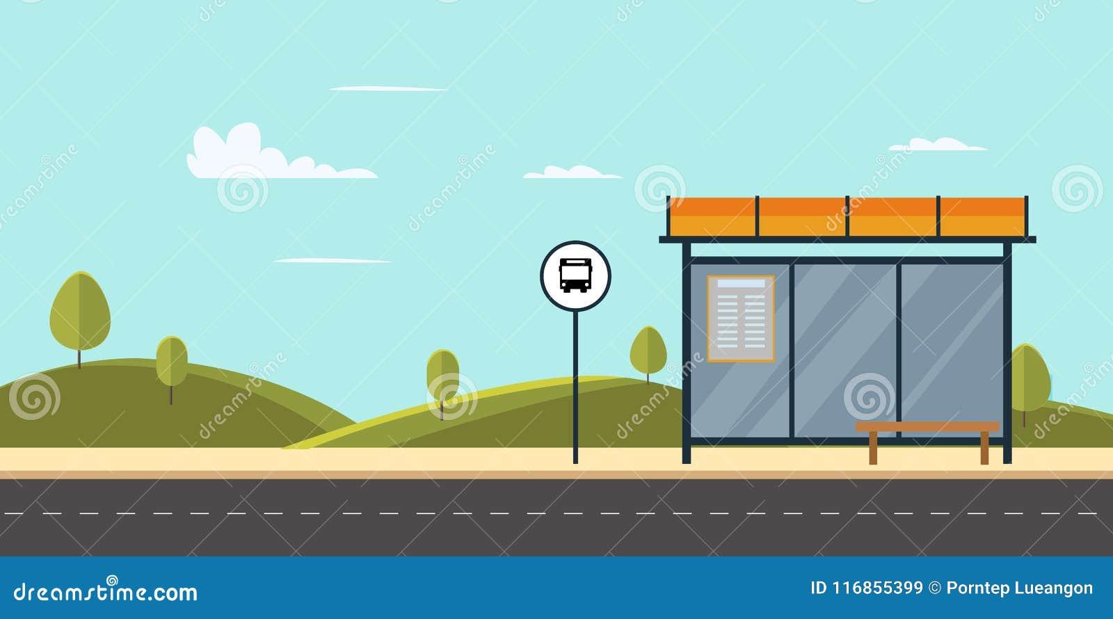 Bushalte op hoofdstraatstad Openbaar park met bank en bushalte met hemel