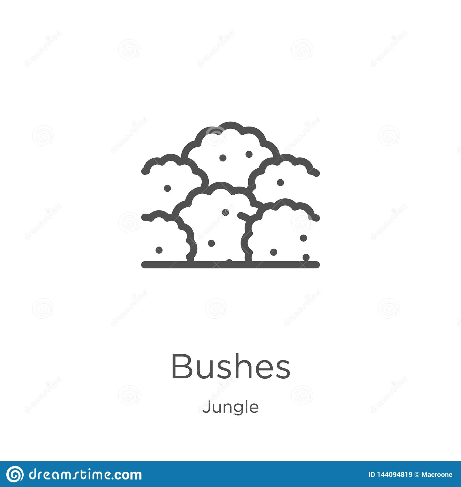 bushes icon vector from jungle collection. Thin line bushes outline icon vector illustration. Outline, thin line bushes icon for