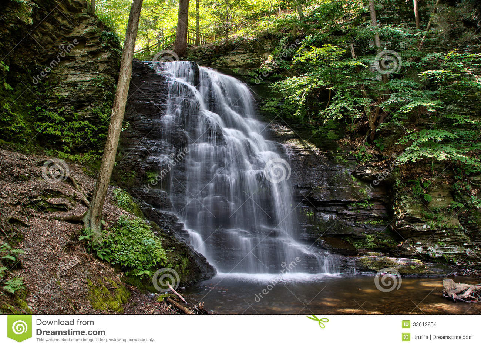 bridal veil falls one of the waterfalls of bushkill falls in the ...