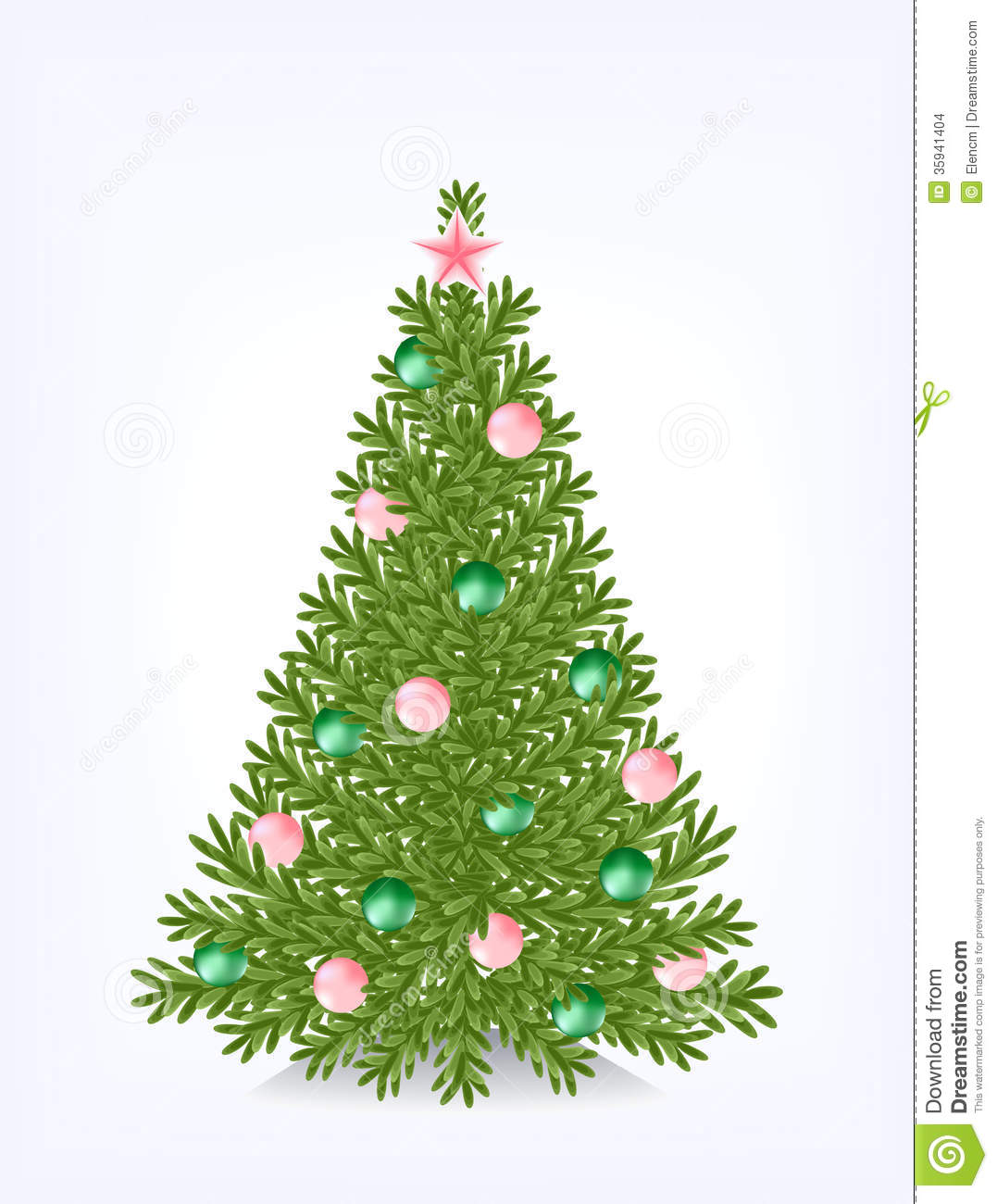 Decorate Christmas Tree With Beads: Bushy Christmas Tree Stock Images