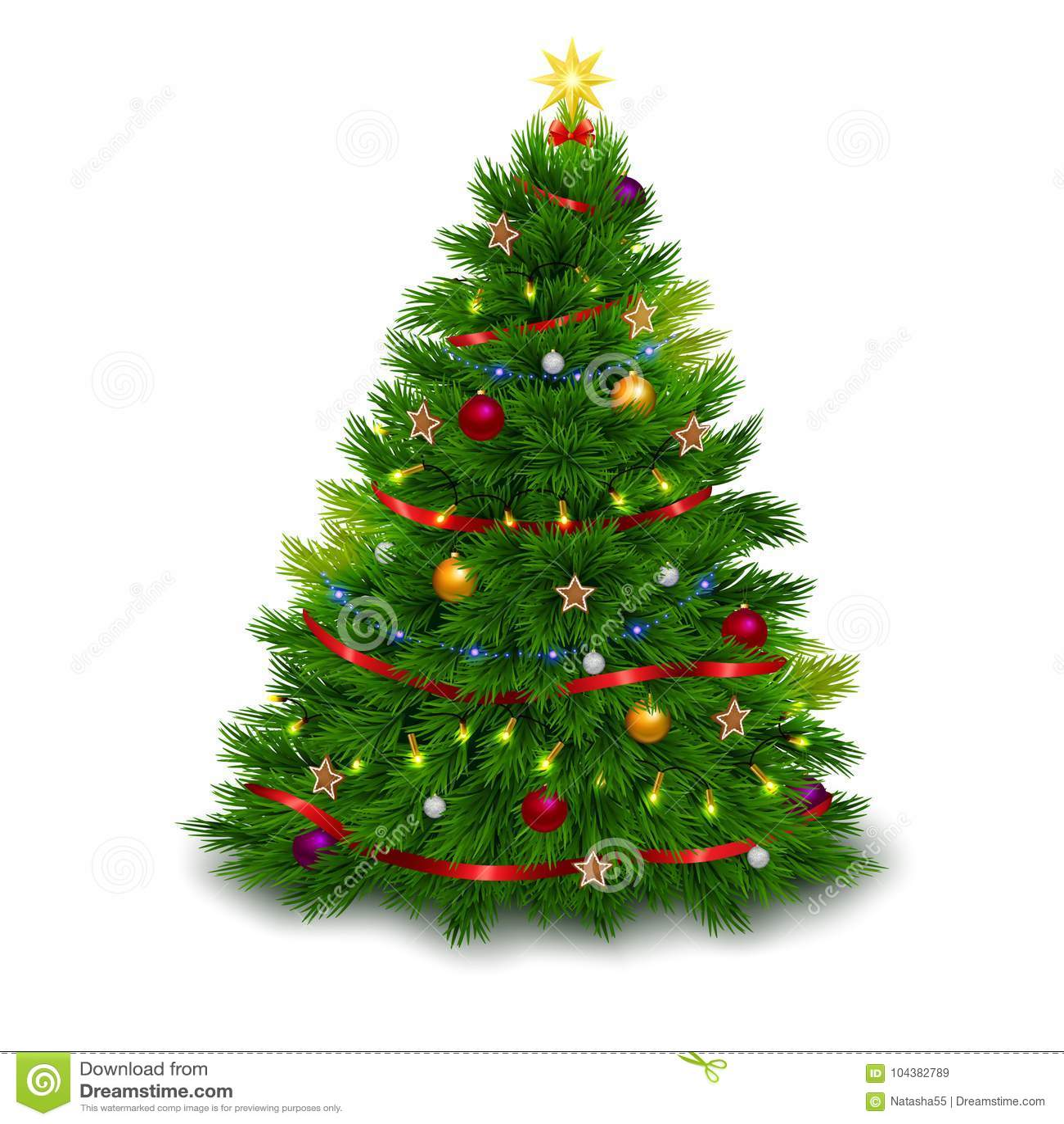 Christmas Tree White Background.Bushy Decorated Christmas Tree On White Background Stock