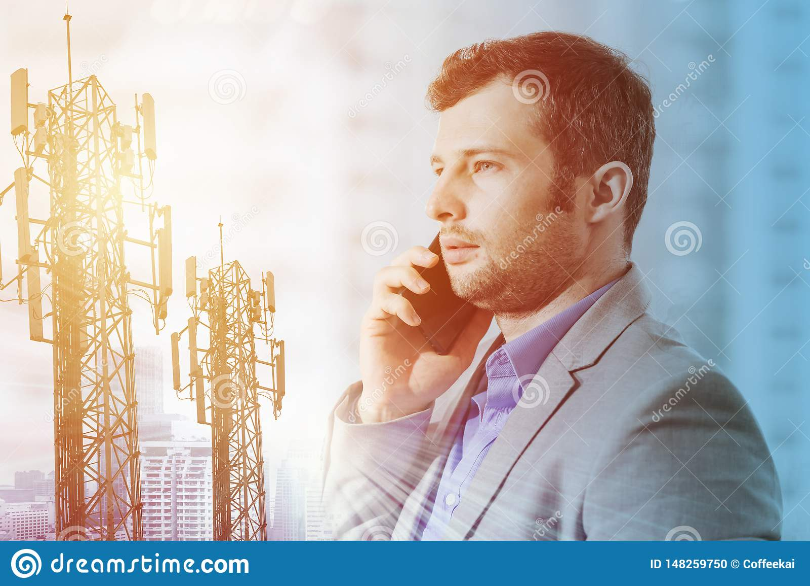 Busineesman on phone call for modern Telecommunication technology