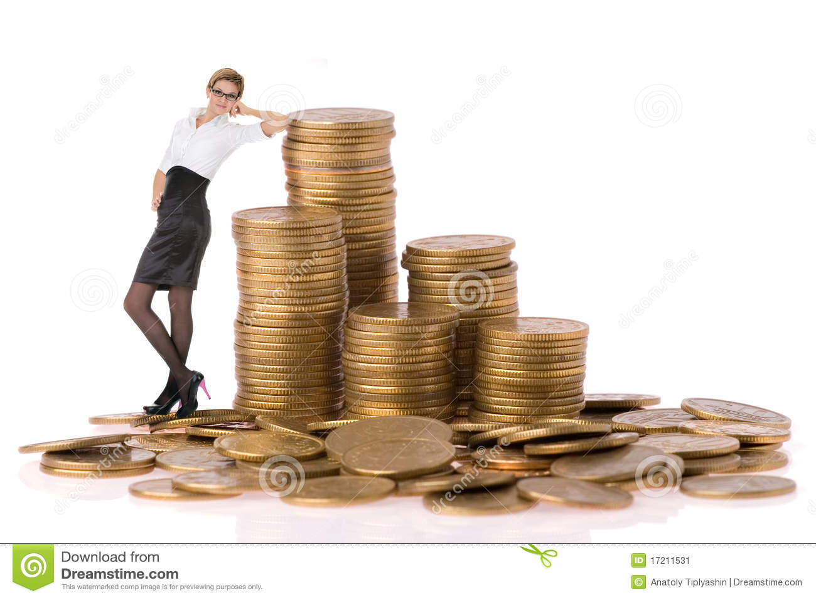 Busines Frau mit Spaltemünzen