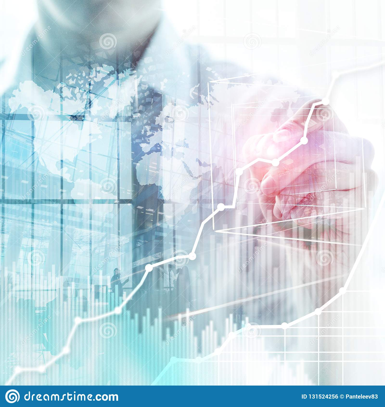 Business abstract background double exposure graph, chart and diagram. World wide map and. Global business and financial trading