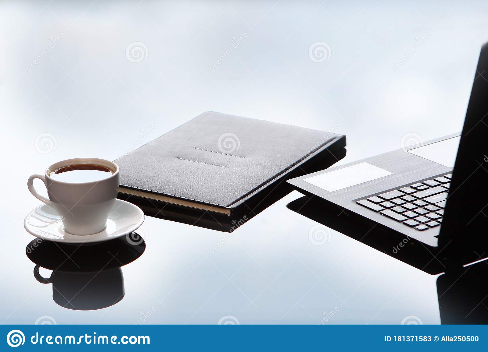 Business Accessories On A Glass Table A Laptop And A Leather Bound Notebook Reflection Of The Sky Copy Of The Space Stock Image Image Of Copy Blank 181371583