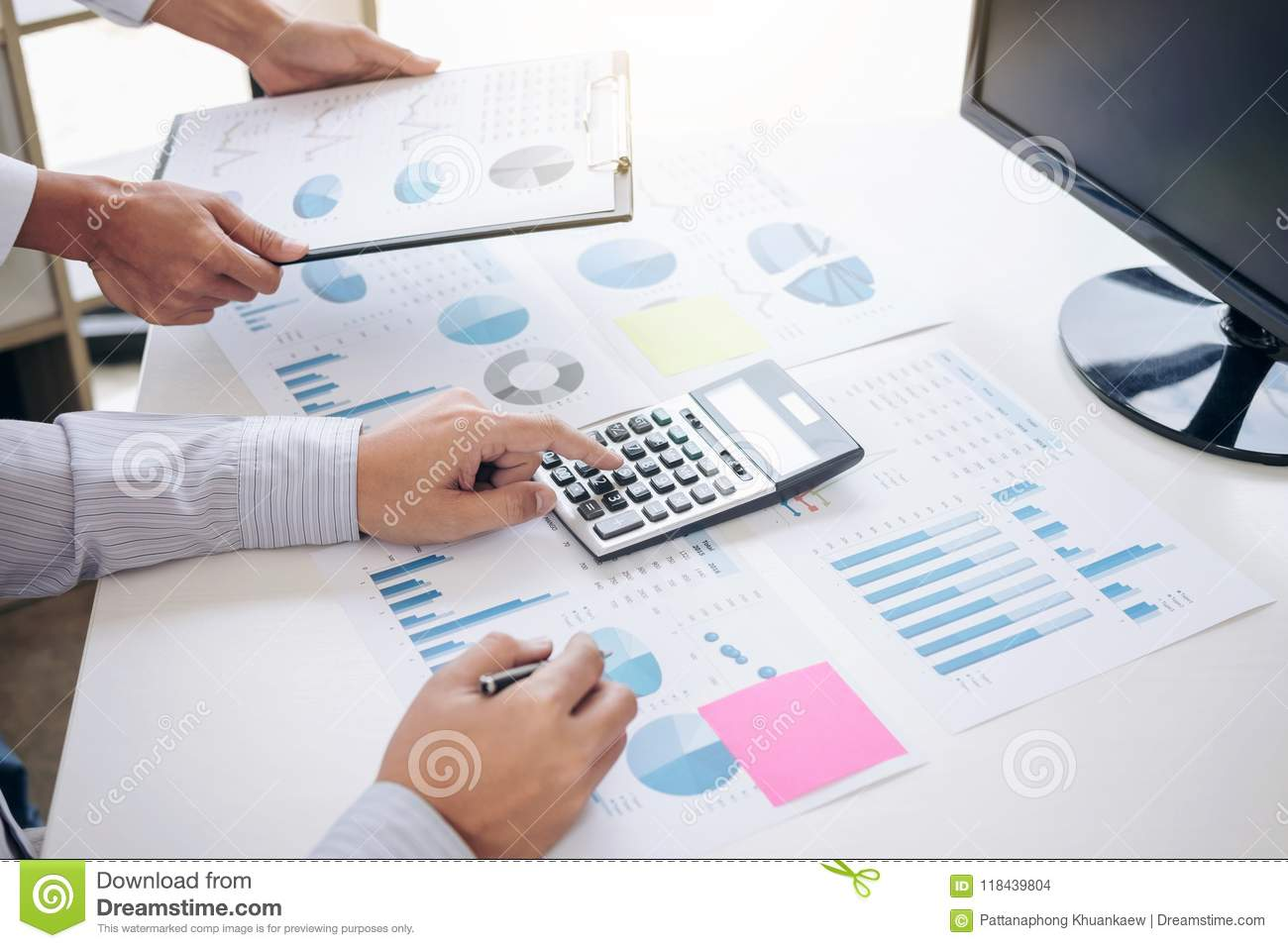 Business accountant or banker, business partner calculate and an