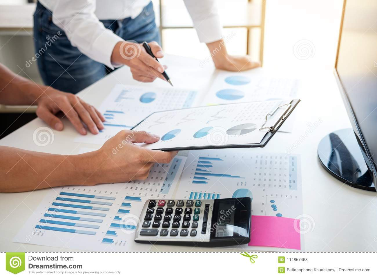 Business accountant banking, business partner offering calculate
