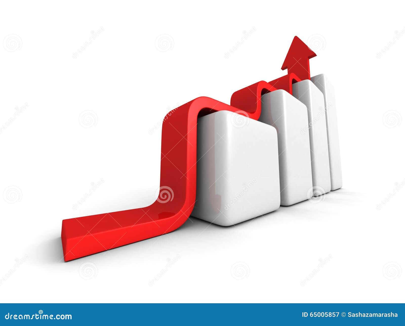 Business Achivement Concept bar Graph Wiyh Rising Arrow