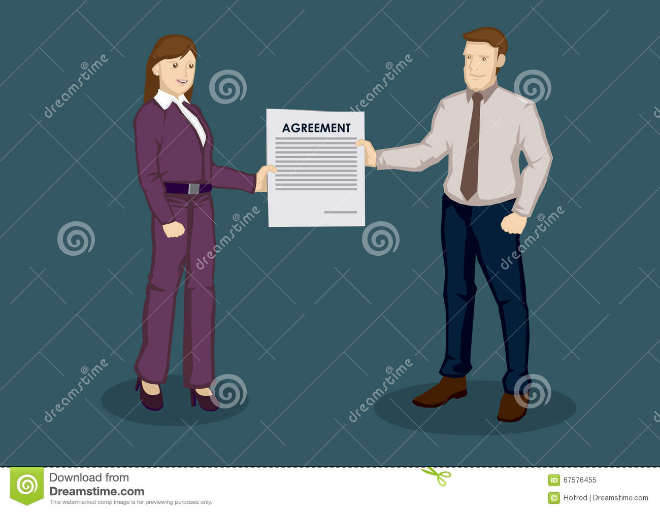 Business Agreement Cartoon Vector Illustration Vector – Free Business Contract