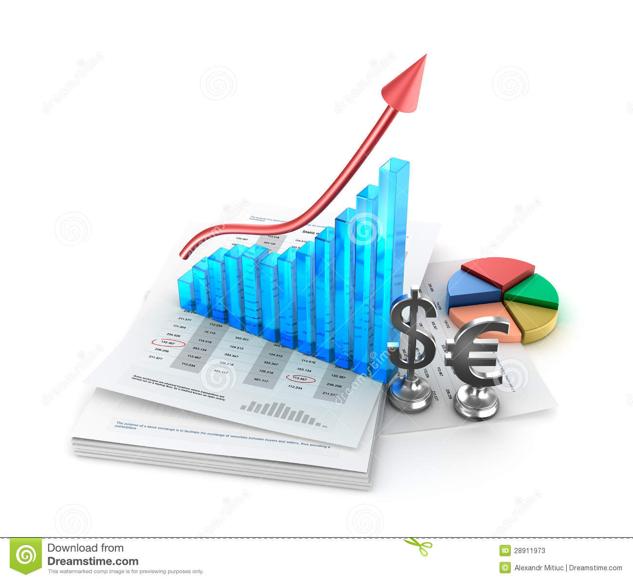business analysis  charts and growth graph stock
