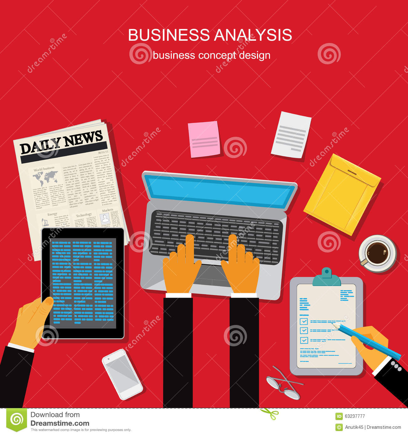 Business Analysis Concept Template Banner Vector