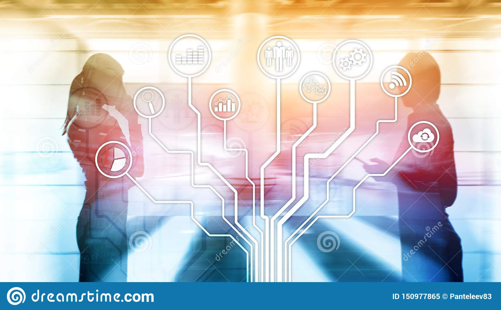 Business applications icons on blurred background. Financial and trading. Internet technology concept