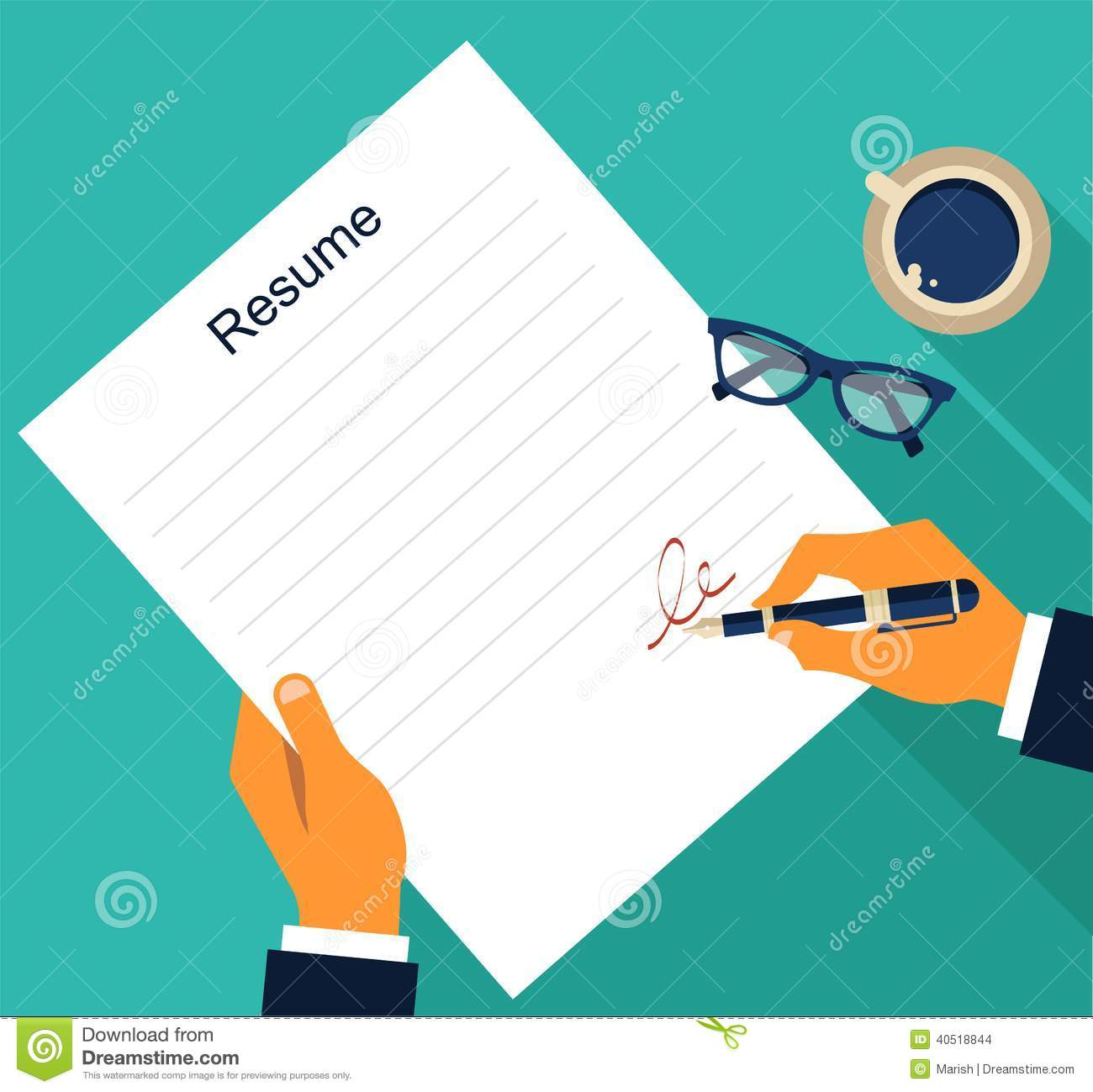 Business Background With Resume Vector Stock Vector Illustration