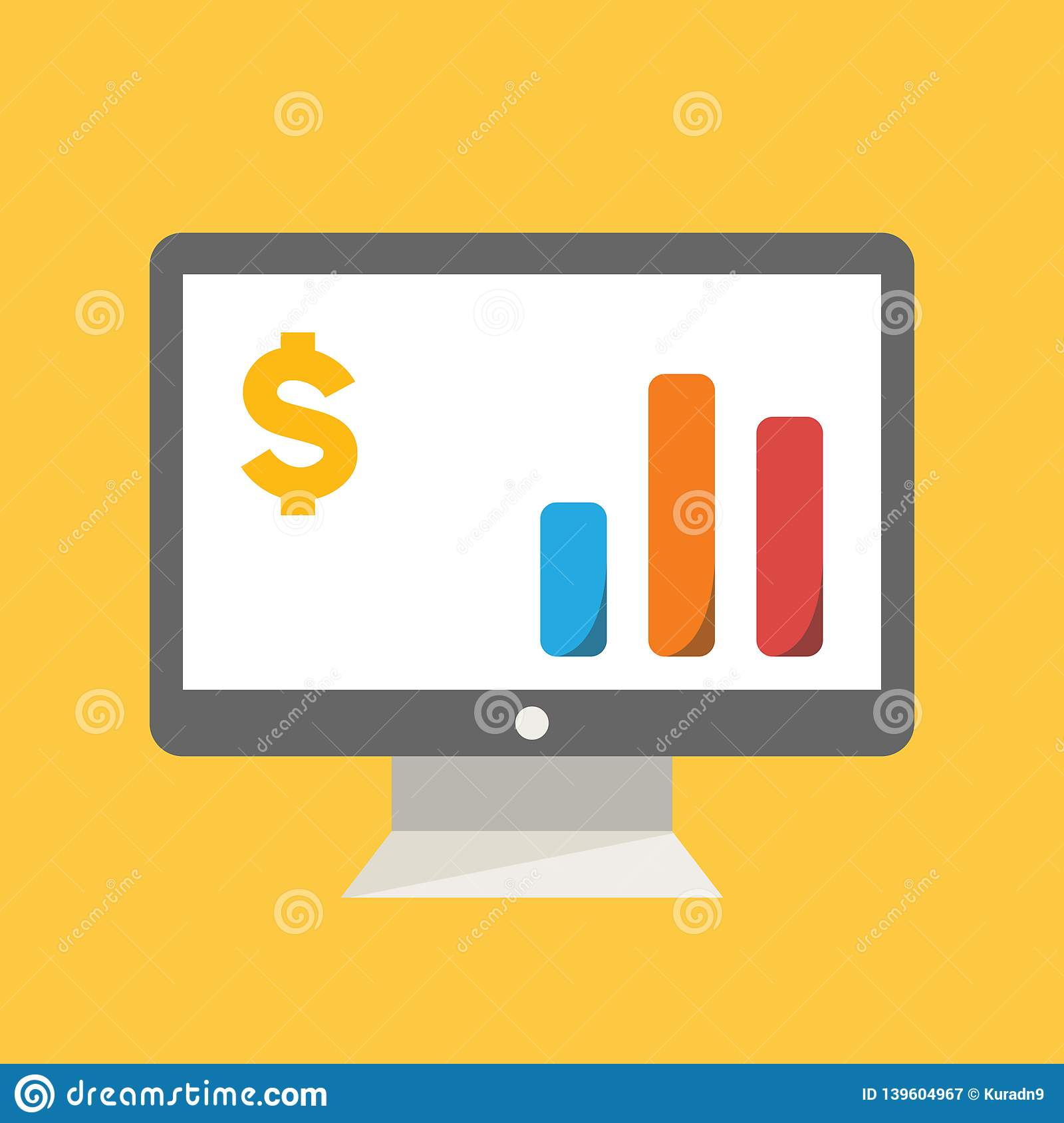 Business, Banking and Finance icon, desktop monitor showing diagram sales statistic