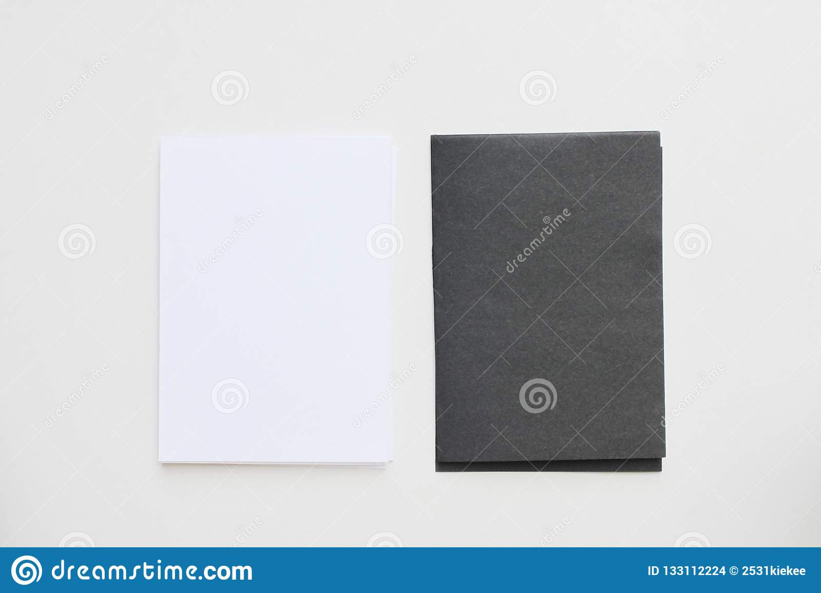 Business blank black and white card placed on the desk top view