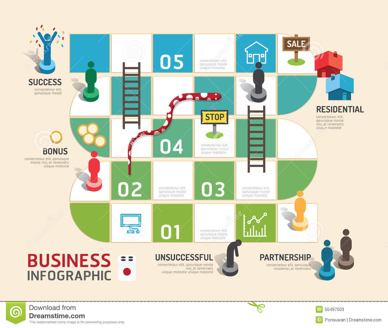 Business Board Game Concept Infographic Step To Successful