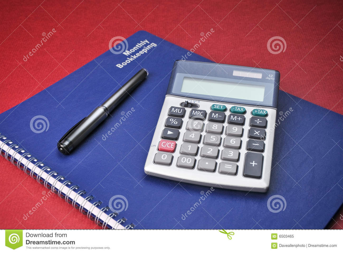 business books calculator expenses bookkeeping stock image