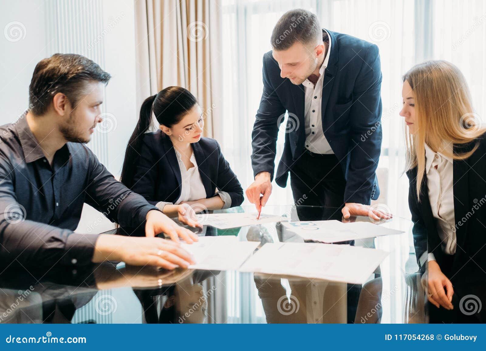 Business briefing leadership boss team board room