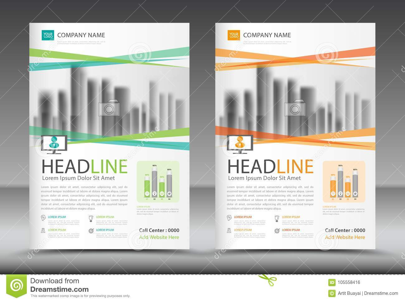 business brochure flyer template annual report cover design stock