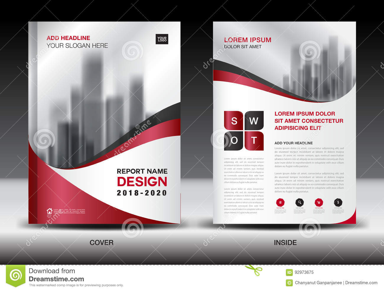 business brochure flyer template red cover design stock vector
