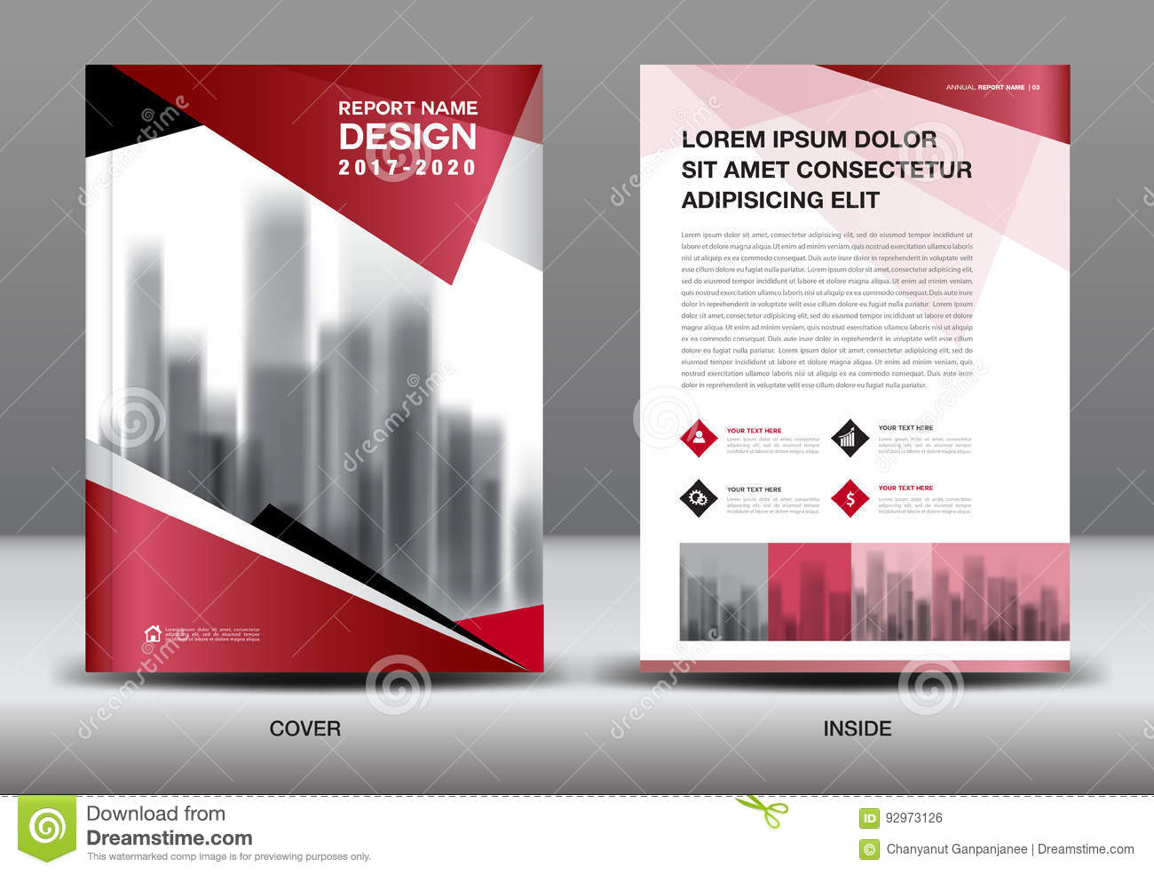 Book Cover Design Business : Business brochure flyer template red cover design stock
