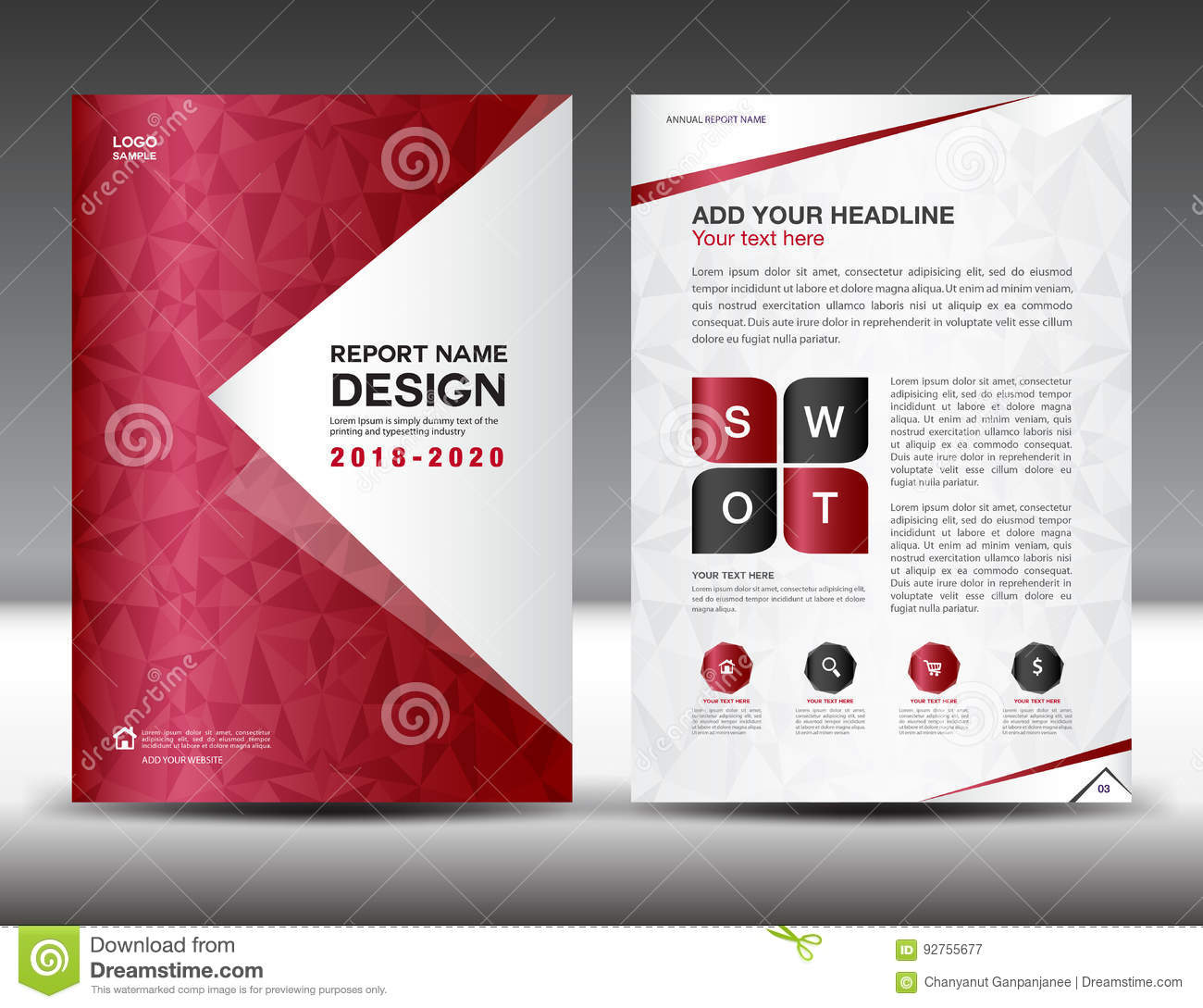 Business brochure flyer template in A4 size, Red Cover design