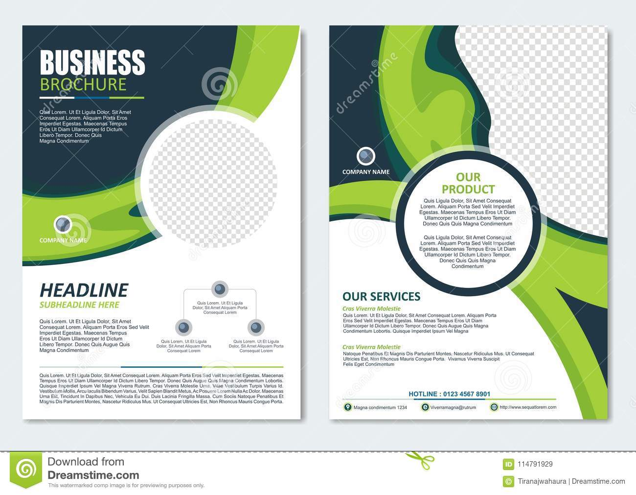 business brochure template with green color design stock vector