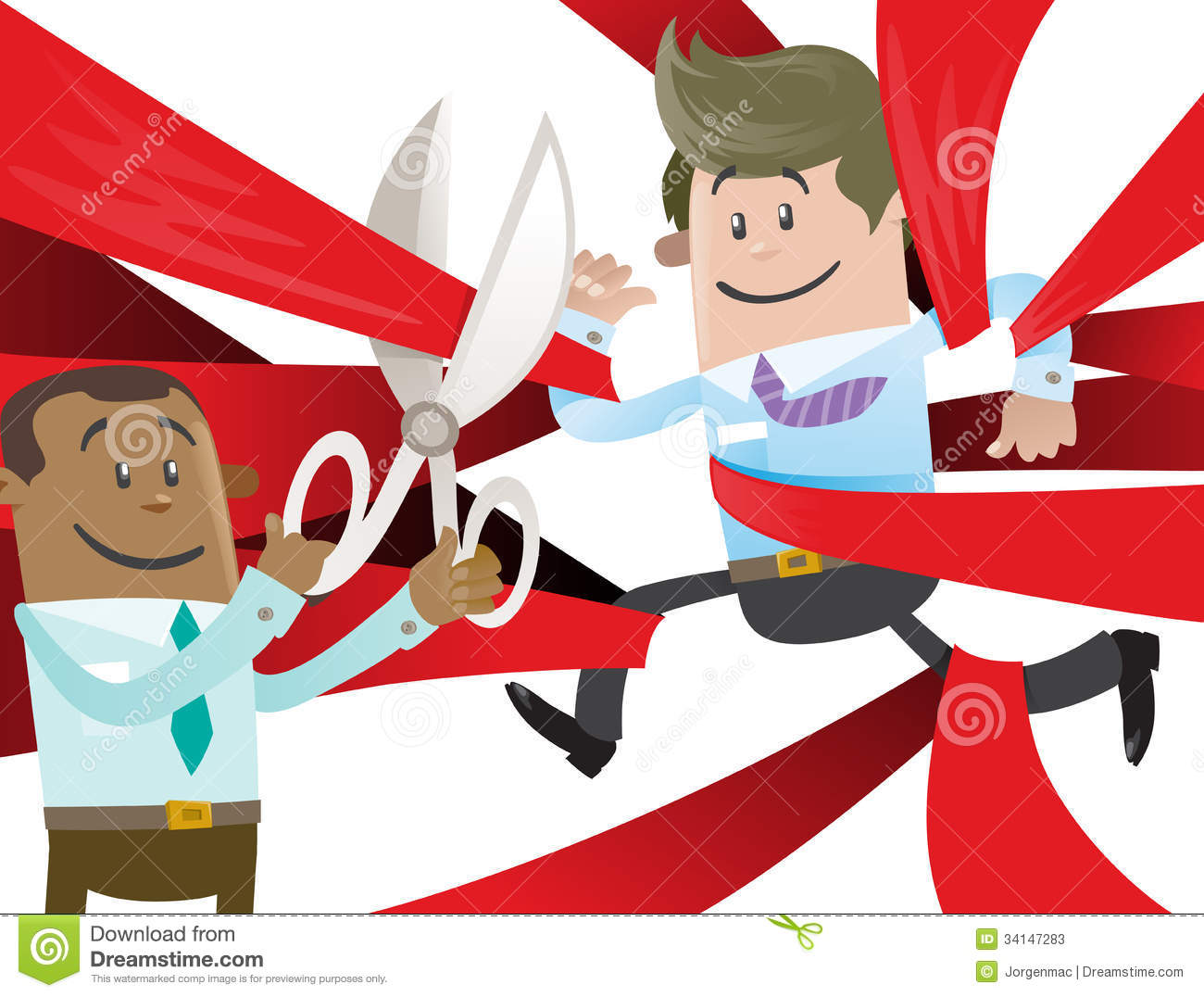 Business Buddy Is Cut Free From Red Tape. Cartoon Vector ...