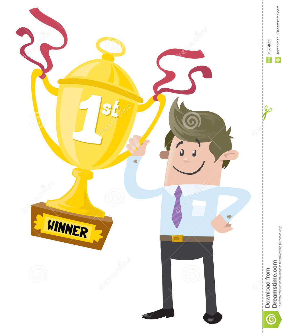 Business Buddy Wins A First Prize Trophy Stock Photos