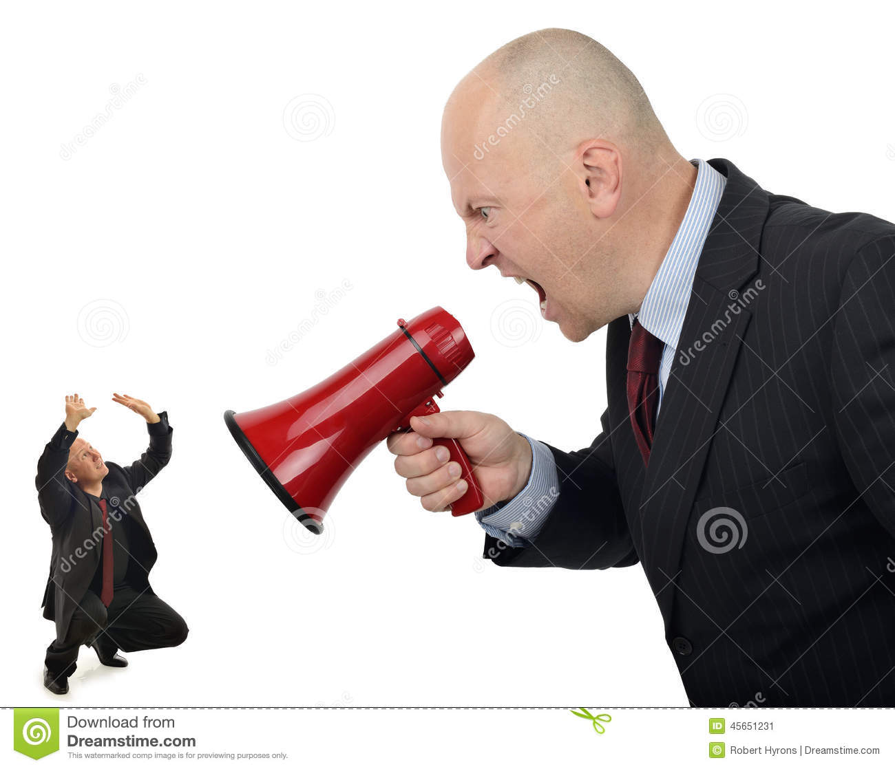 Business Bully Businessman Shouting Orders Worker Isolated White Background Angry Woman No