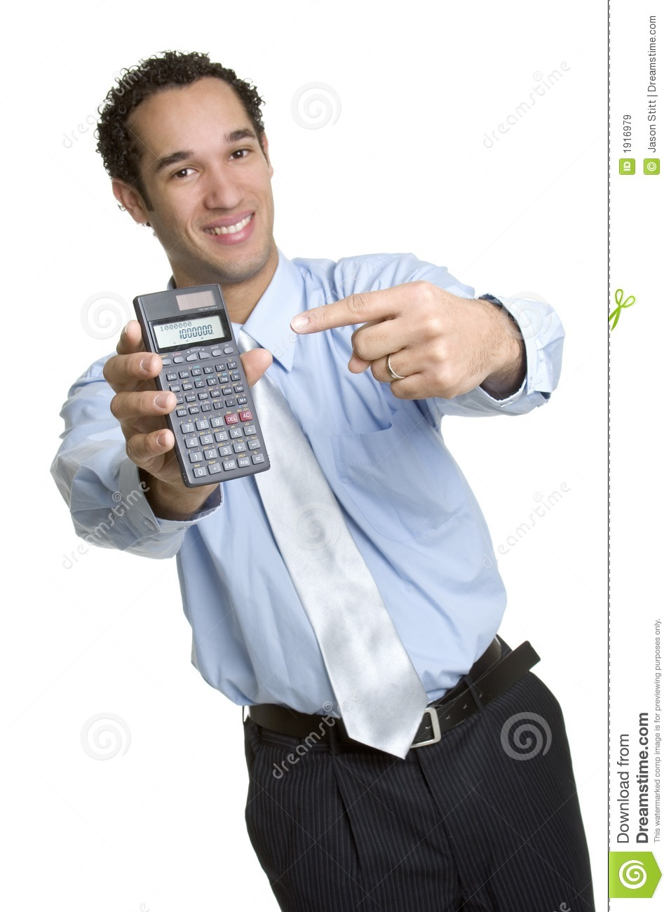 business calculator man stock image  image of smile