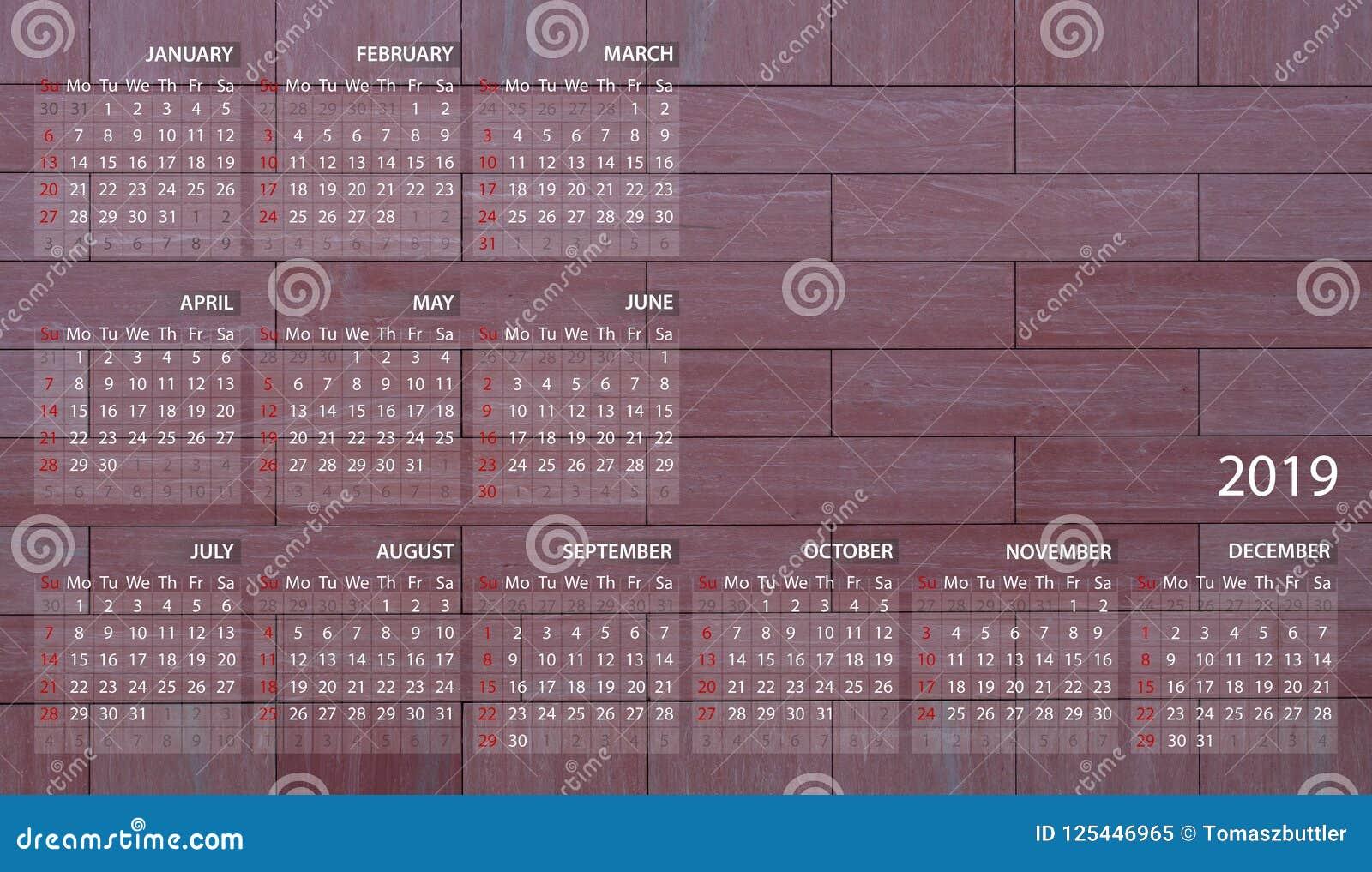 Terminal 5 Calendar.Business Calendar In English For 2019 Illustration Violet Wall