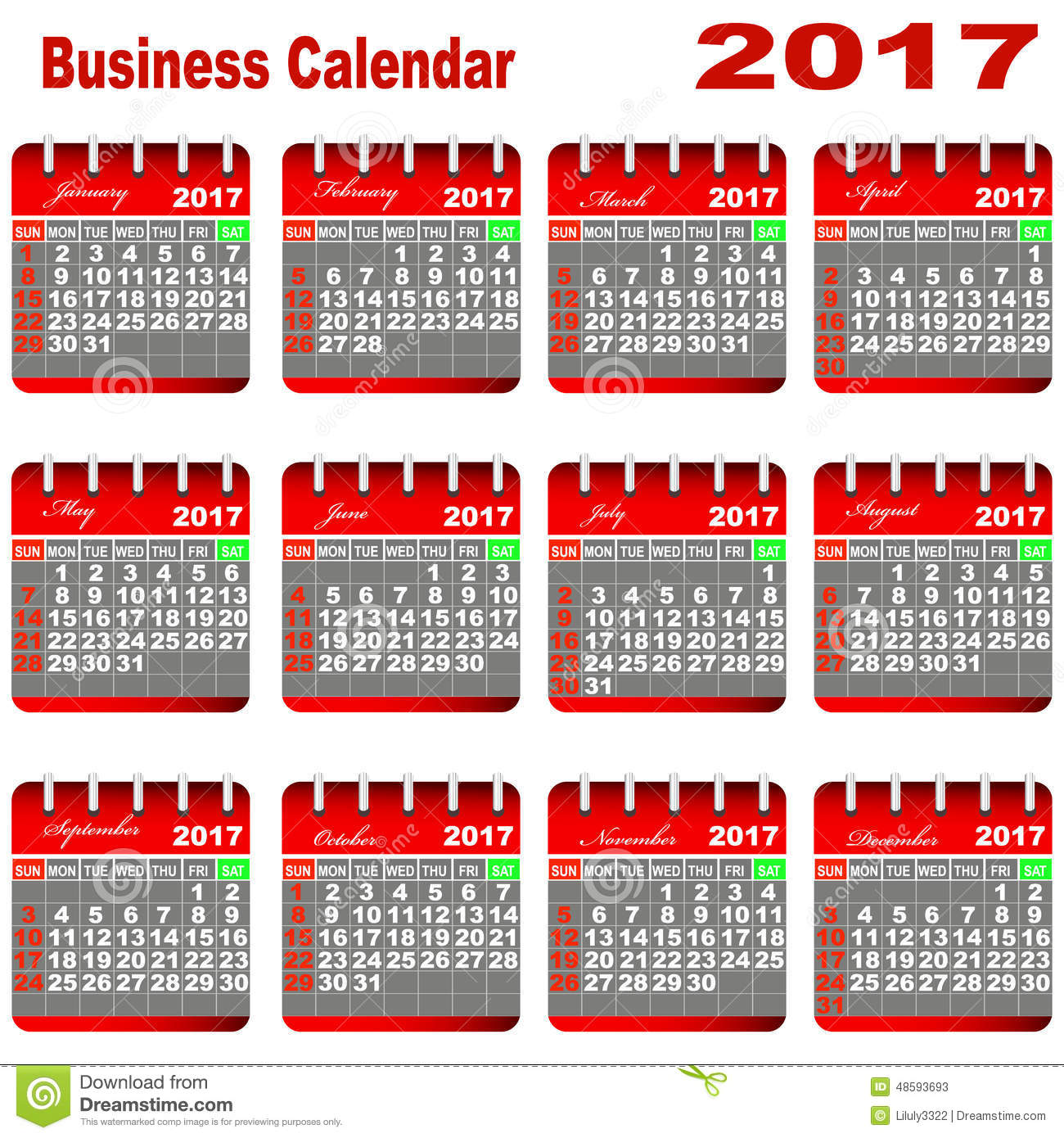 Corporate Calendar 2017 : Business calendar stock vector image